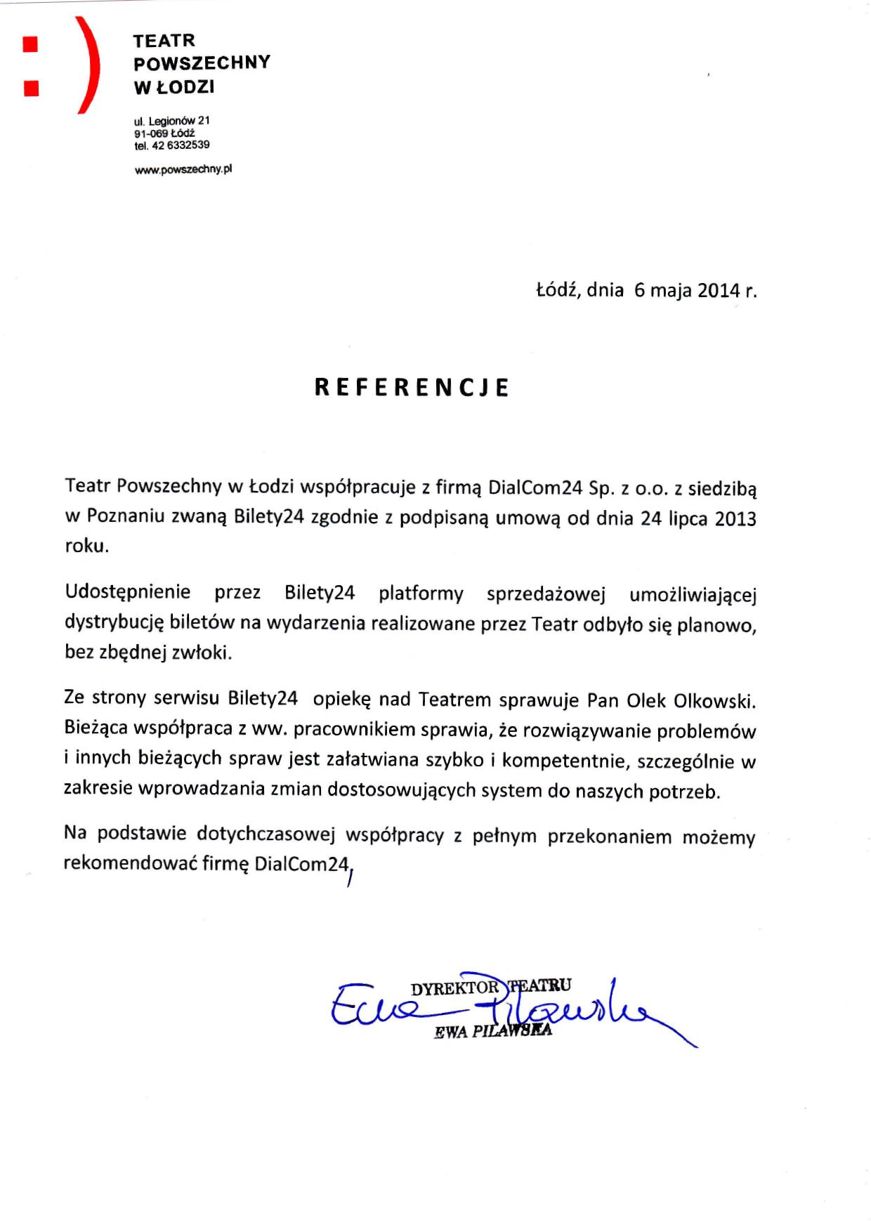 System biletowy Bilety24 - referencje od Teatr Powszechny w Łodzi