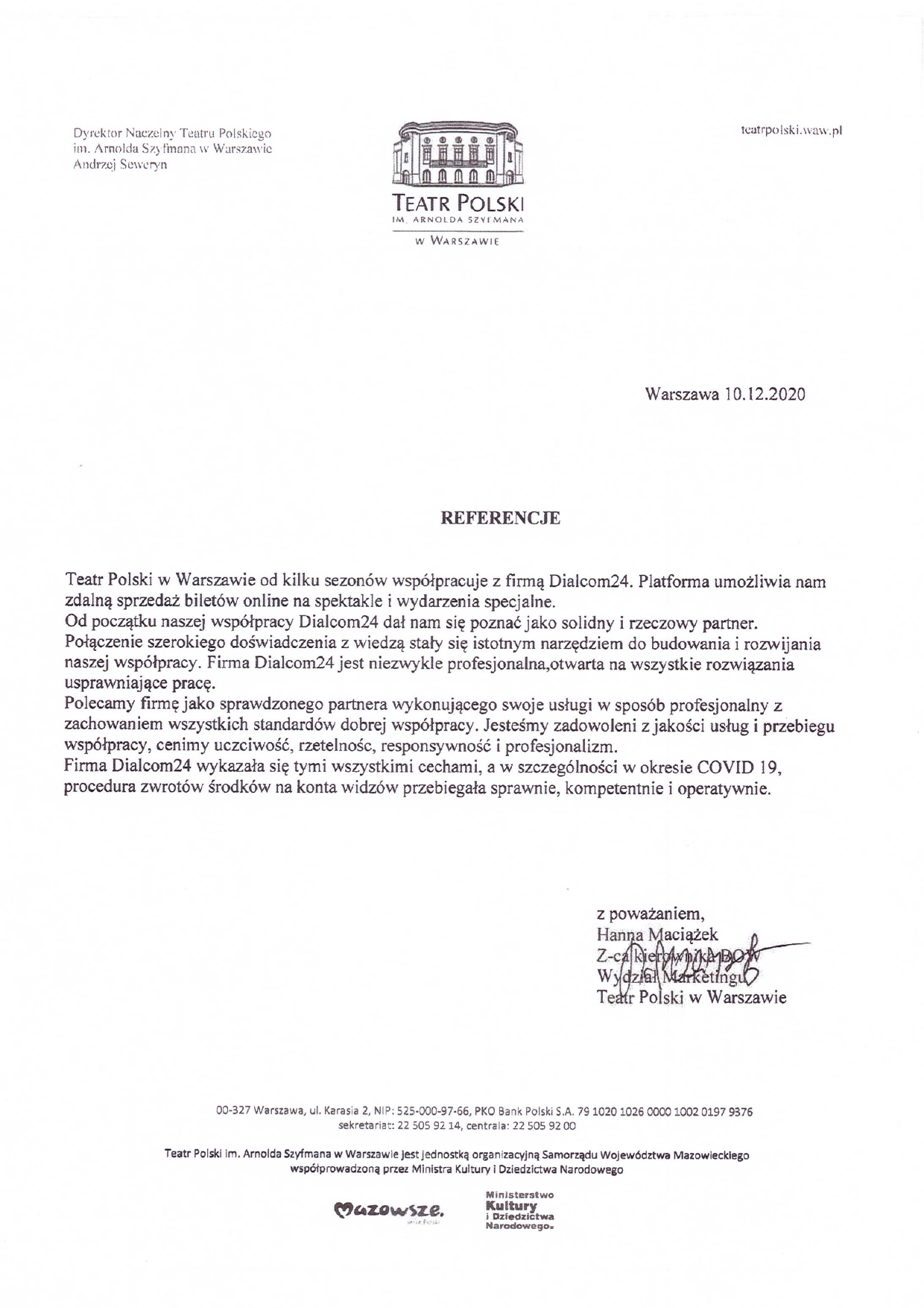 System biletowy Bilety24 - referencje od Teatr Polski
