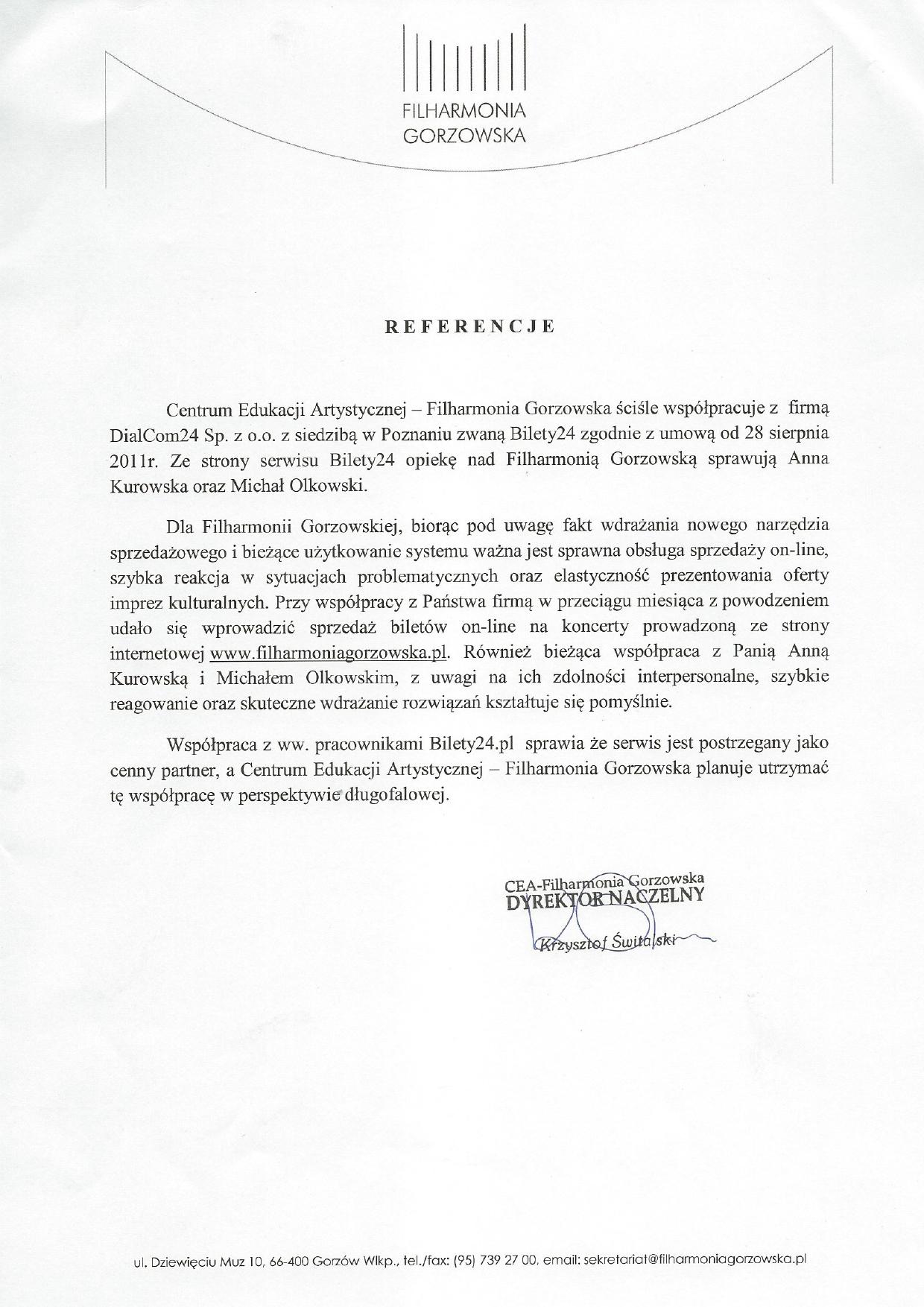 System biletowy Bilety24 - referencje od Filharmonia Gorzowska